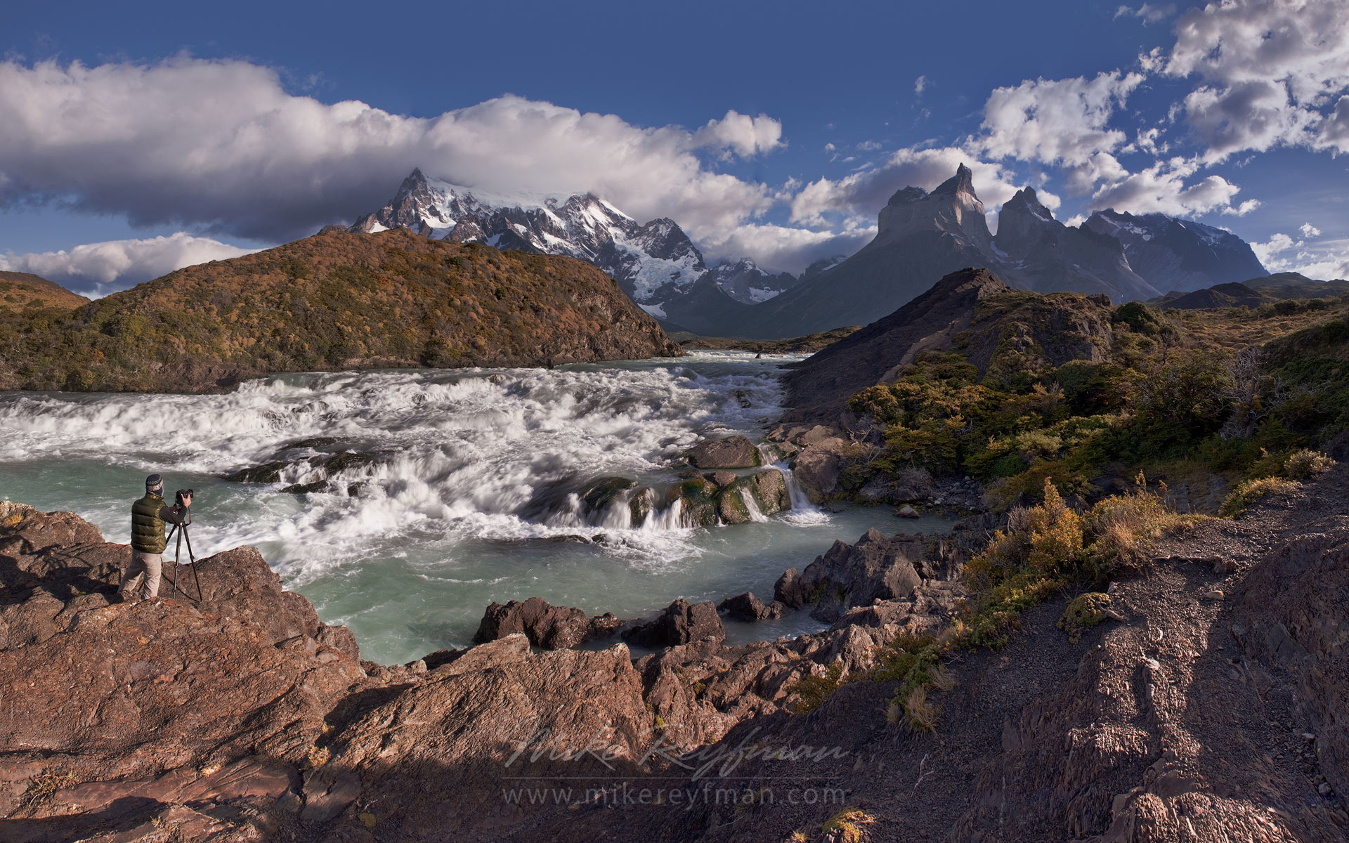 Photographer at work. Rio Paine rapids and Cuernos del Paine. Torres del Paine National Park, Magallanes and Antartica Chilena Region XII, Patagonia, Chile. - Torres-Del-Paine-National-Park-Patagonia-Chile - Mike Reyfman Photography