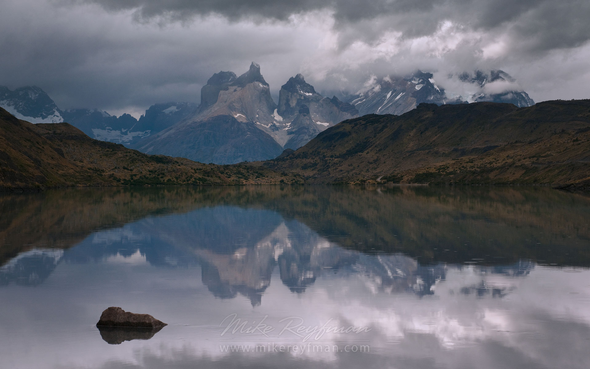 Cuernos reflections at Puente Weber. Torres del Paine National Park, Ultima Esperanza Province, Magallanes and Antartica Chilena Region XII, Patagonia, Chile. - Torres-Del-Paine-National-Park-Patagonia-Chile - Mike Reyfman Photography