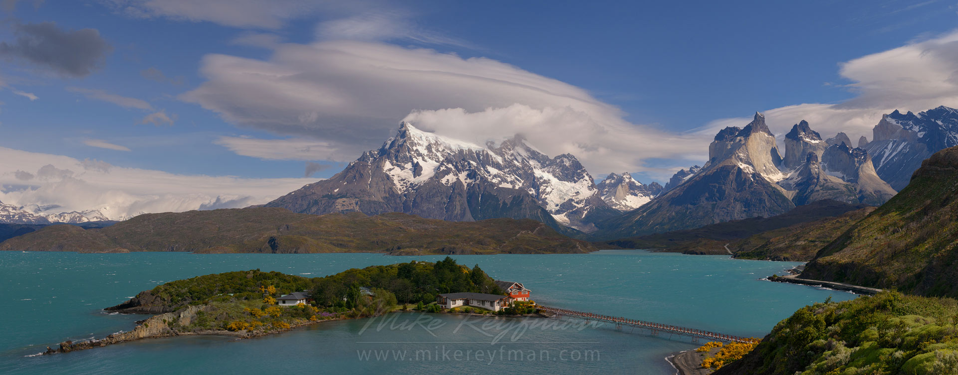 Hosteria Pehoe, Lago Pehoe and Cordillera del Paine as seen from Mirador Condores. Torres del Paine National Park, Ultima Esperanza Province, Magallanes and Antartica Chilena Region XII, Patagonia, Chile. - Torres-Del-Paine-National-Park-Patagonia-Chile - Mike Reyfman Photography