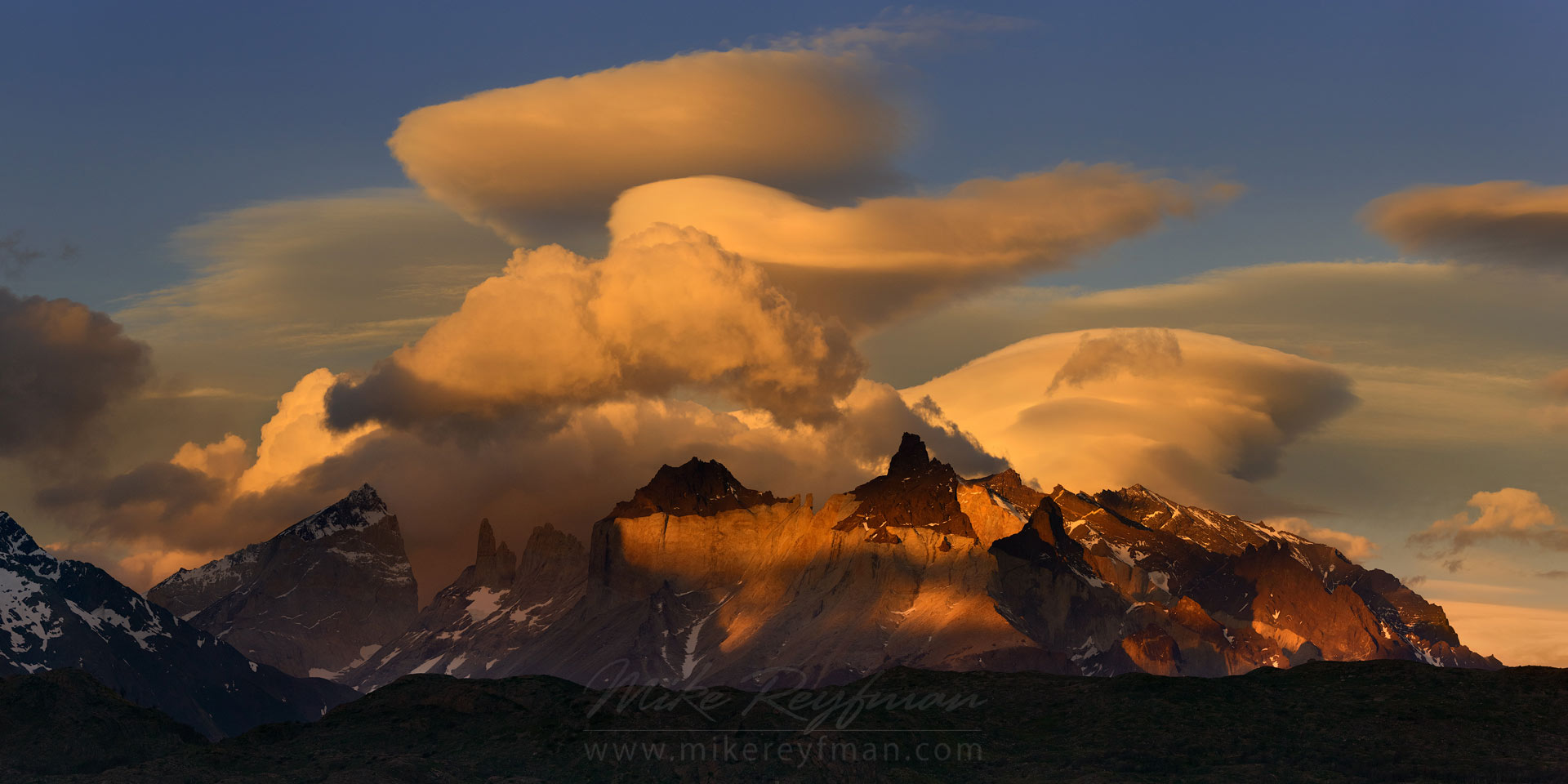 Crazy clouds over Cordillera del Paine. Torres del Paine National Park, Ultima Esperanza Province, Magallanes and Antartica Chilena Region XII, Patagonia, Chile. - Torres-Del-Paine-National-Park-Patagonia-Chile - Mike Reyfman Photography