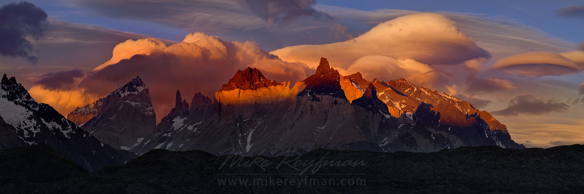 Dramatic sunset over Cordillera del Paine. Torres del Paine National Park, Ultima Esperanza Province, Magallanes and Antartica Chilena Region XII, Patagonia, Chile. - Torres-Del-Paine-National-Park-Patagonia-Chile - Mike Reyfman Photography