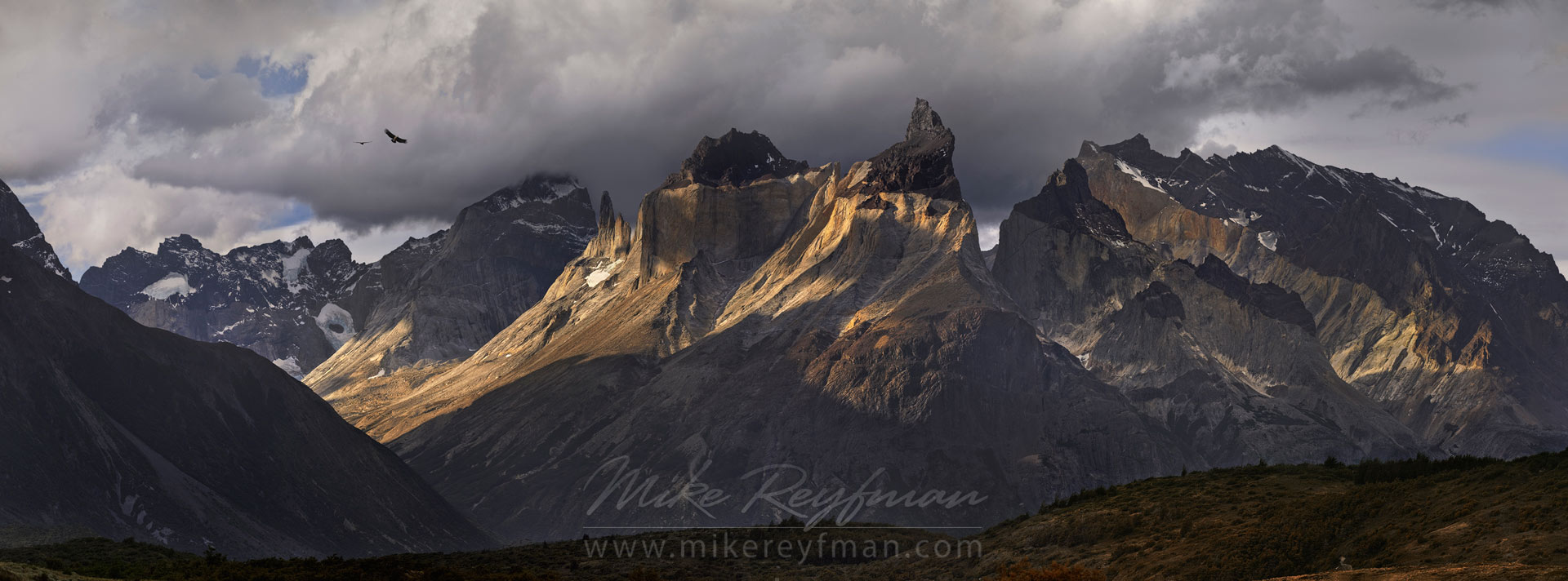 El Condor Pasa. Panoramic view of Cordillera del Paine with flying condors. Torres del Paine National Park, Ultima Esperanza Province, Magallanes and Antartica Chilena Region XII, Patagonia, Chile. - Torres-Del-Paine-National-Park-Patagonia-Chile - Mike Reyfman Photography