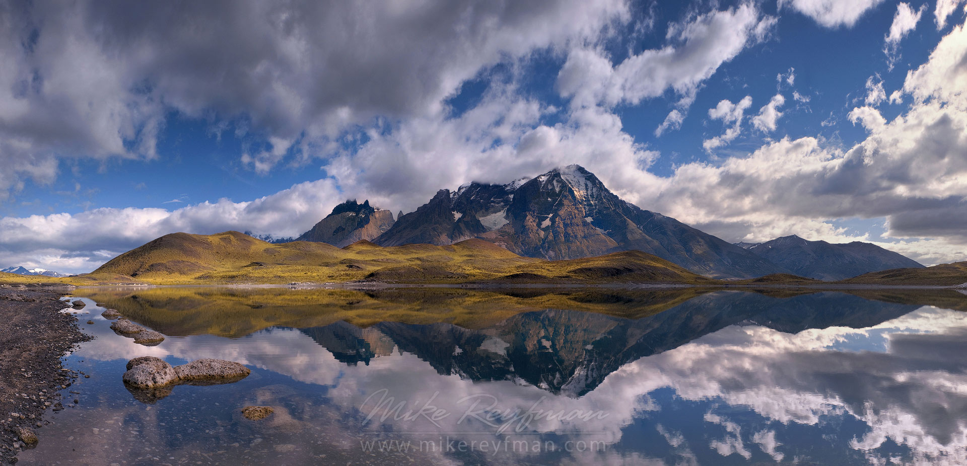 Cordillera del Paine reflecting in Laguna Larga. Torres del Paine National Park, Ultima Esperanza Province, Magallanes and Antartica Chilena Region XII, Patagonia, Chile. - Torres-Del-Paine-National-Park-Patagonia-Chile - Mike Reyfman Photography