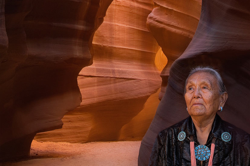 Sue Tsosie. The Canyon Was First Discovered by 12 Year Old Sue in 1931. Upper Antelope Canyon, Arizona, USA.