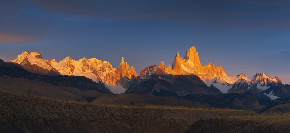 First light. Fitz Roy and Cerro Torre Massifs, Patagonia, Argentina. - Gallery-1 - Mike Reyfman Photography