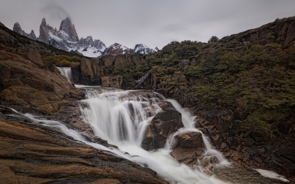 Fitz Roy Peak and waterfall near Lake Capri. Patagonia, Argentina. - Gallery-1 - Mike Reyfman Photography