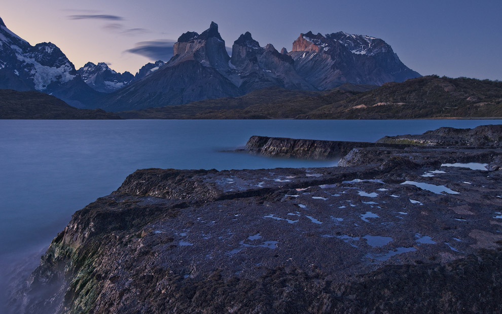 Lava island on Lake Pehoe and Cuernos del Paine. Torres del Paine National Park, Patagonia, Chile. - Gallery-1 - Mike Reyfman Photography