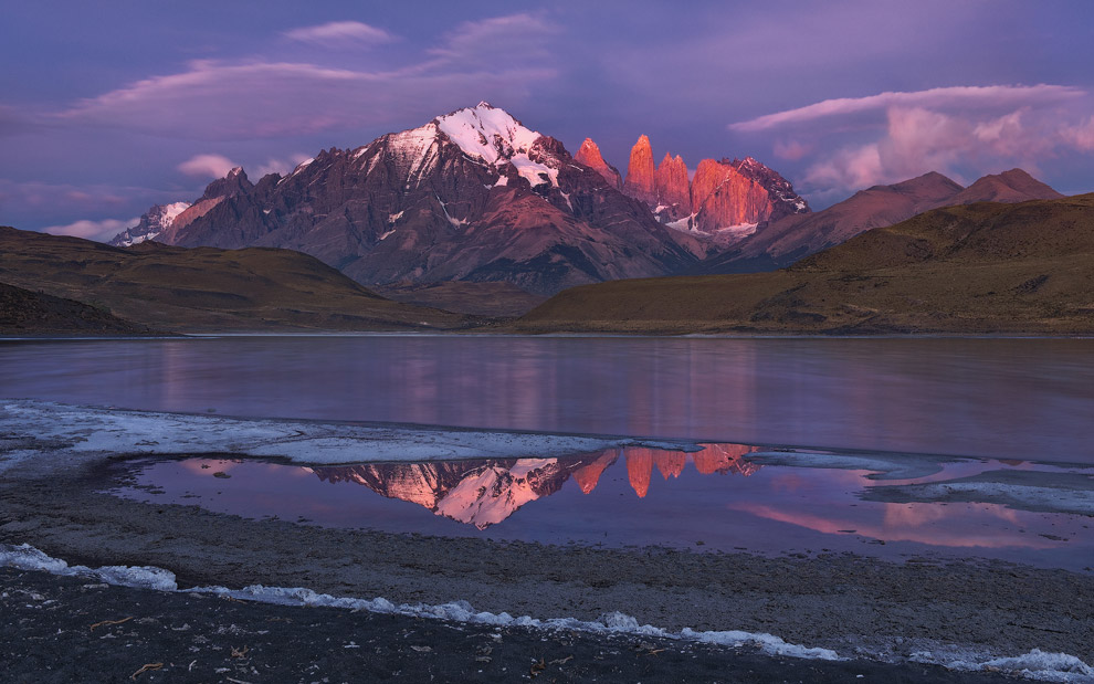 Towers of Paine reflecting in Laguna Amarga at sunrise. Torres del Paine National Park, Patagonia, Chile. - Gallery-1 - Mike Reyfman Photography