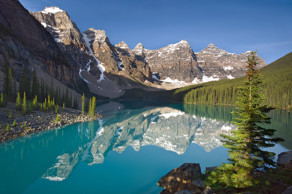 Postcards from Rockies. Lake Moraine. Banff National Park, Alberta, Canada.