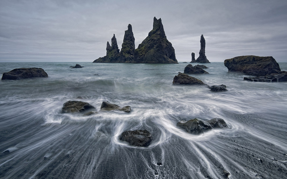 Mystique Midnight on Reynisfjara Beach. Reynisfjara, Reynisdrangar, Iceland.
