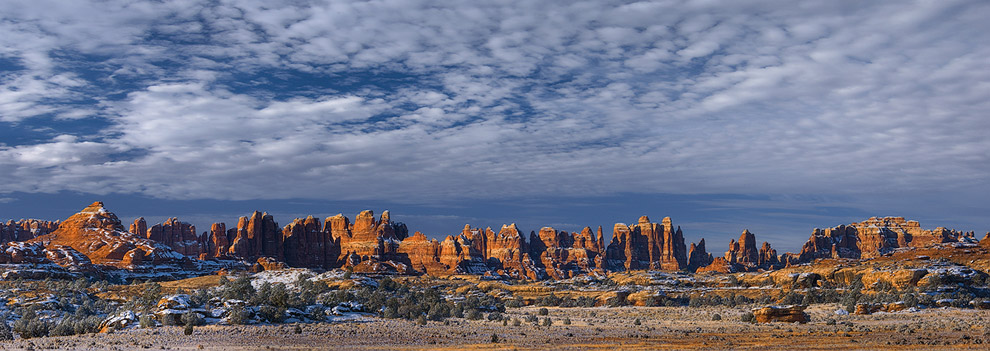 Panoramic View of the Needles. The Needles District of Canyonlands National Park, Utah, USA.
