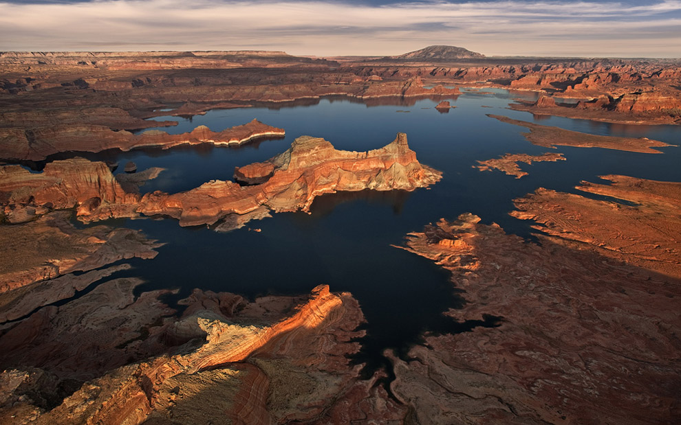 Infinity or About Little White Jeep. Gunsight Butte, Glen Canyon NRA, Lake Powell, Utah/Arizona, USA. Aerial.  - Gallery-2 - Mike Reyfman Photography