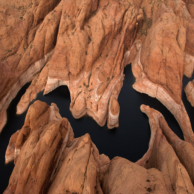 Earth's Hieroglyphs (aerial abstracts series). Forbidding Canyon near Rainbow Bridge, Glen Canyon NRA, Lake Powell, Utah/Arizona, USA. Aerial.