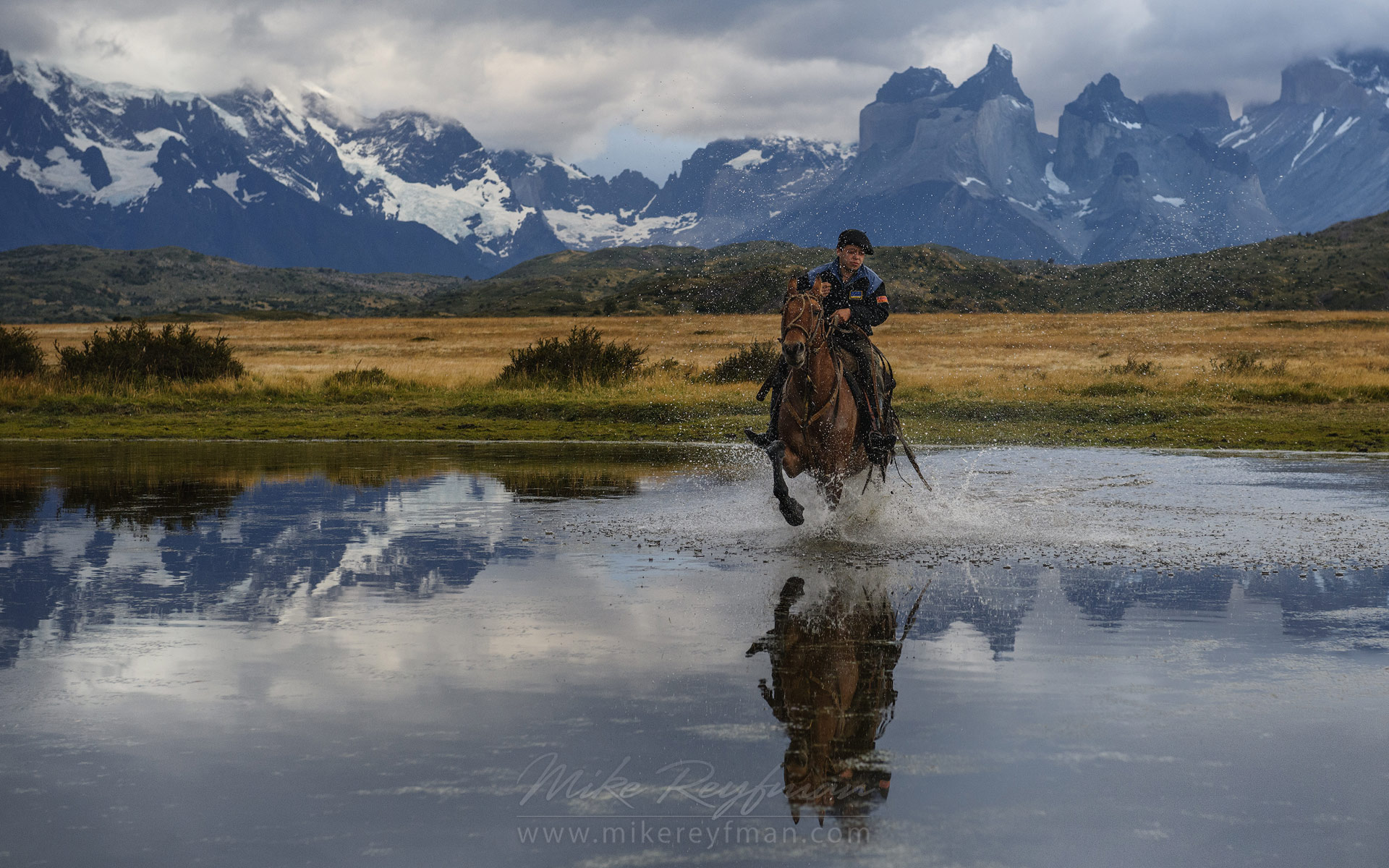 Gaucho galloping on a horse through a small pond. Beautiful mountains of Torres del Paine National Park are on the backdrop. Ultima Esperanza Province, Magallanes and Antartica Chilena Region XII, Patagonia, Chile.  - Patagonia-Wildlife-and-Horses - Mike Reyfman Photography