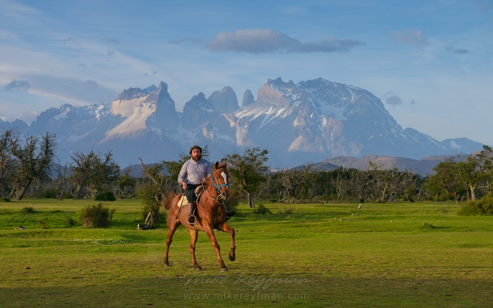 Local gaucho and estancia owner Mauricio wearing traditional gaucho outfit - bombacha trousers, boina beret and gaucho high boots on the horse. His estancia is  in the proximity of Torres del Paine National Park, Patagonia, Chile.  - Patagonia-Wildlife-and-Horses - Mike Reyfman Photography