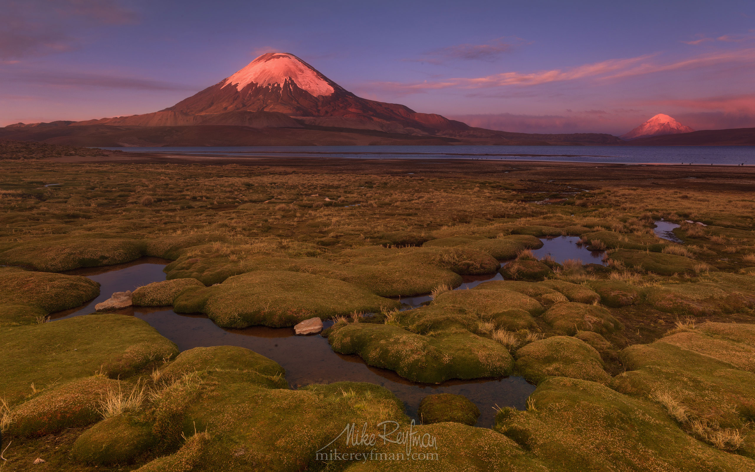 Parinacota Stratovolcano and Chungara Lake. Lauca National Park, Altiplano, Chile AA1-AIR3058 - Atacama and Altiplano. The Driest Desert and The High Plain - Mike Reyfman Photography