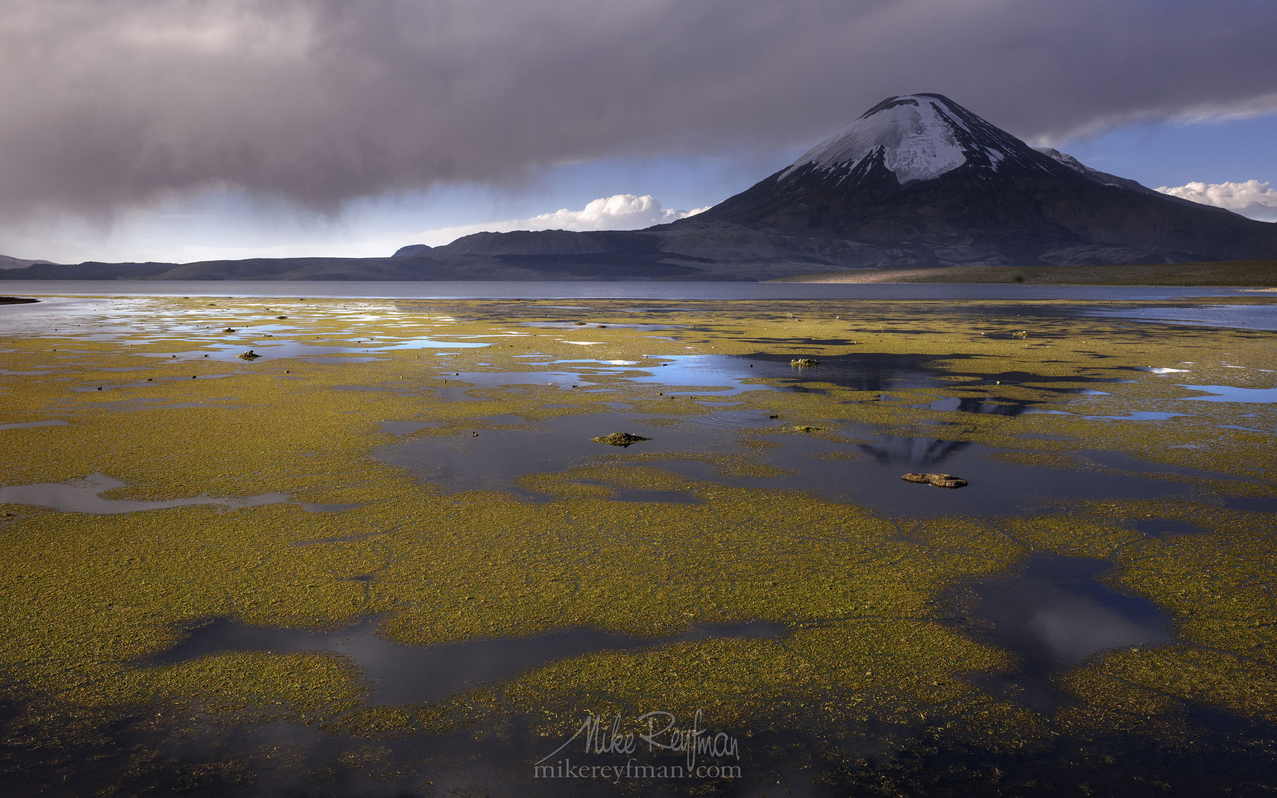 Parinacota Stratovolcano and Chungara Lake. Lauca National Park, Altiplano, Chile AA1-AIR2698 - Atacama and Altiplano. The Driest Desert and The High Plain - Mike Reyfman Photography