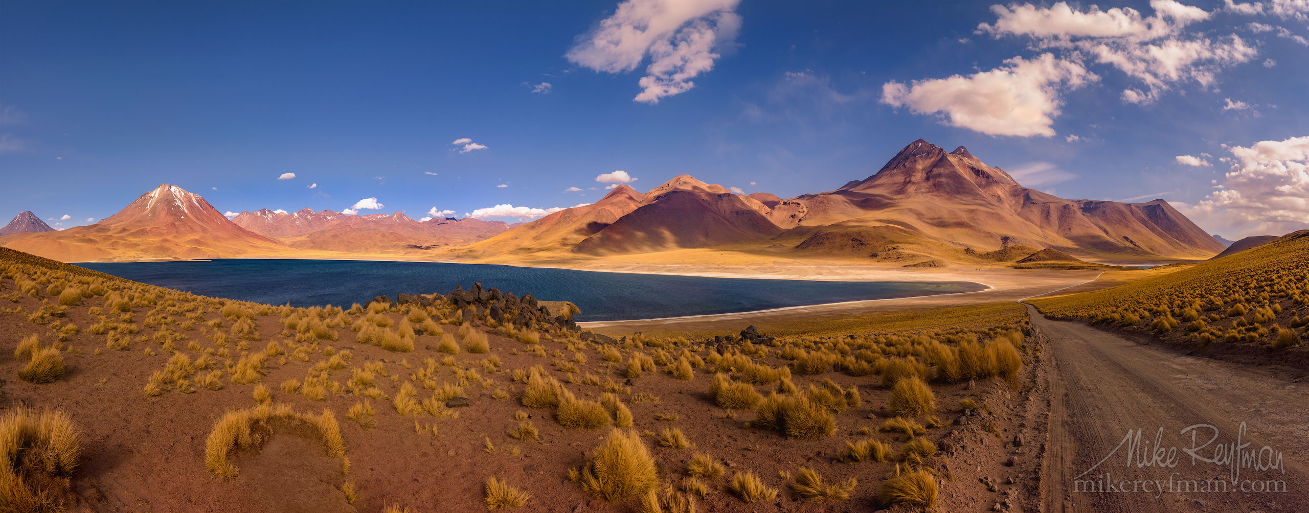 Laguna and volcano Miñiques. San Pedro de Atacama, Atacama Desert, Antofagasta Region, Chile AA1-D1D9624_Pano_1x2.55 - Atacama and Altiplano. The Driest Desert and The High Plain - Mike Reyfman Photography