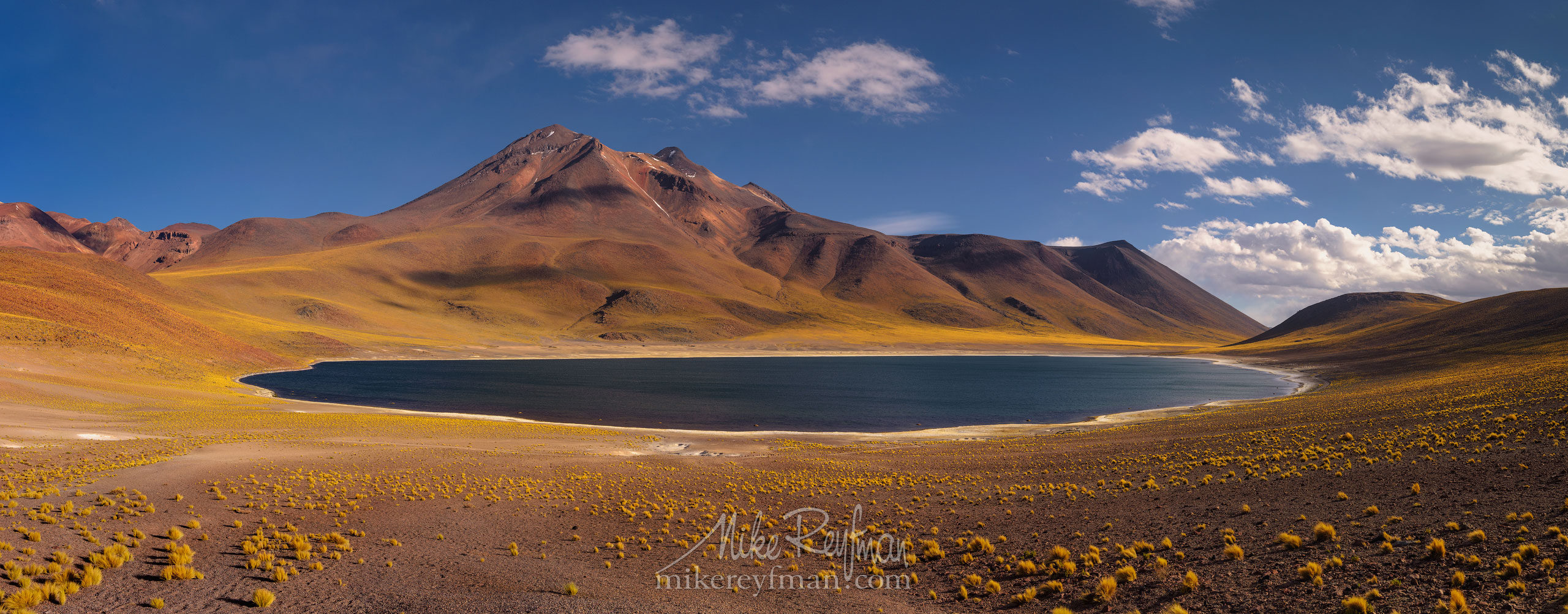 Laguna Miscanti and Miñiques volcano. San Pedro de Atacama, Atacama Desert, Antofagasta Region, Chile AA1-D1D9636_Pano_1x2.55 - Atacama and Altiplano. The Driest Desert and The High Plain - Mike Reyfman Photography