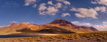 AA1-D1D9609_Pano_1x2.55 Laguna and volcano Miñiques. San Pedro de Atacama, Atacama Desert, Antofagasta Region, Chile