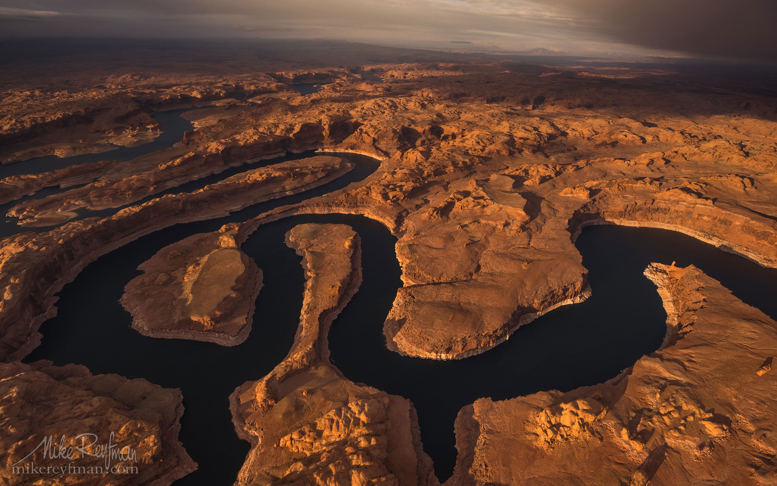 Sunset on Planet Earth. Confluence of San Juan & Colorado Rivers. Glen Canyon NRA, Lake Powell, Utah/Arizona, USA. Aerial. 001-LP3_D1C1590.jpg - Lake Powell, Glen Canyon NAR. Colorado and Sun Juan Rivers. Utah/Arizona, USA  - Mike Reyfman Photography