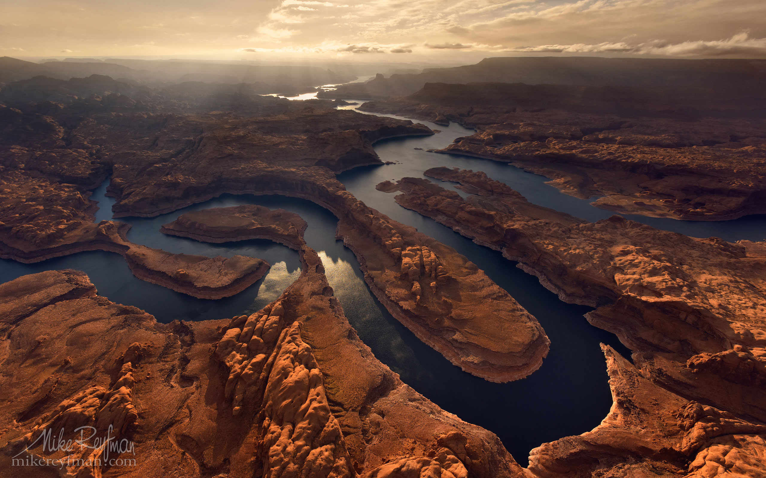 Sunset on Planet Earth. Confluence of San Juan & Colorado Rivers. Glen Canyon NRA, Lake Powell, Utah/Arizona, USA. Aerial. 003-LP3_D1C1628-9.jpg - Lake Powell, Glen Canyon NAR. Colorado and Sun Juan Rivers. Utah/Arizona, USA  - Mike Reyfman Photography