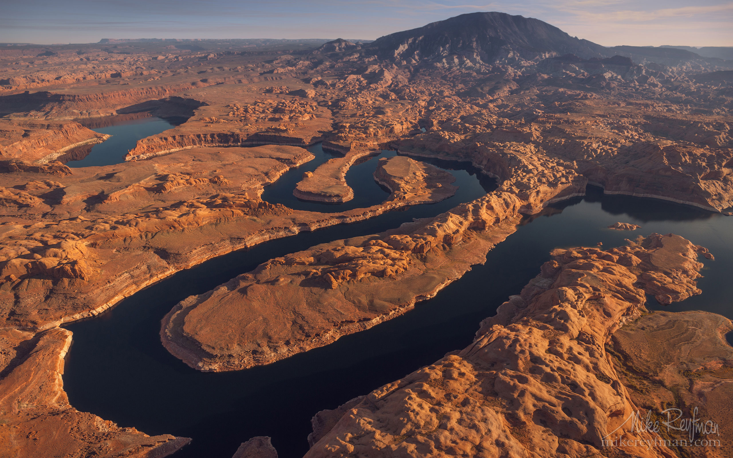 Confluence of San Juan & Colorado Rivers. Glen Canyon NRA, Lake Powell, Utah/Arizona, USA. Aerial. 005-LP3_MR29903.jpg - Lake Powell, Glen Canyon NAR. Colorado and Sun Juan Rivers. Utah/Arizona, USA  - Mike Reyfman Photography