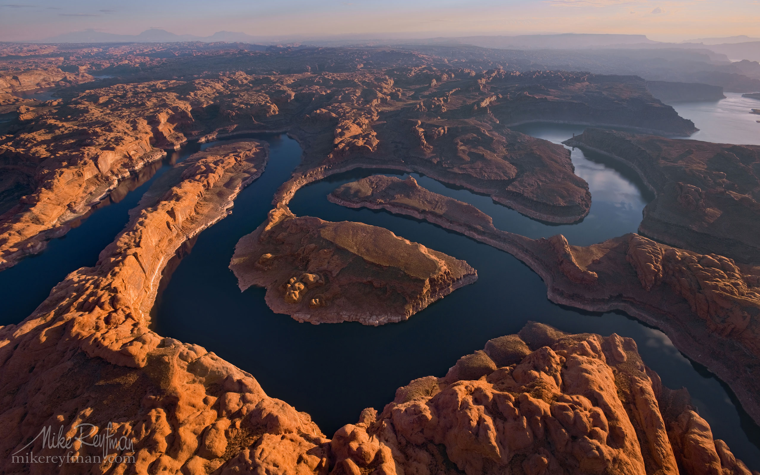 Confluence of San Juan & Colorado Rivers. Glen Canyon NRA, Lake Powell, Utah/Arizona, USA. Aerial. 006-LP3_O3X5469.jpg - Lake Powell, Glen Canyon NAR. Colorado and Sun Juan Rivers. Utah/Arizona, USA  - Mike Reyfman Photography