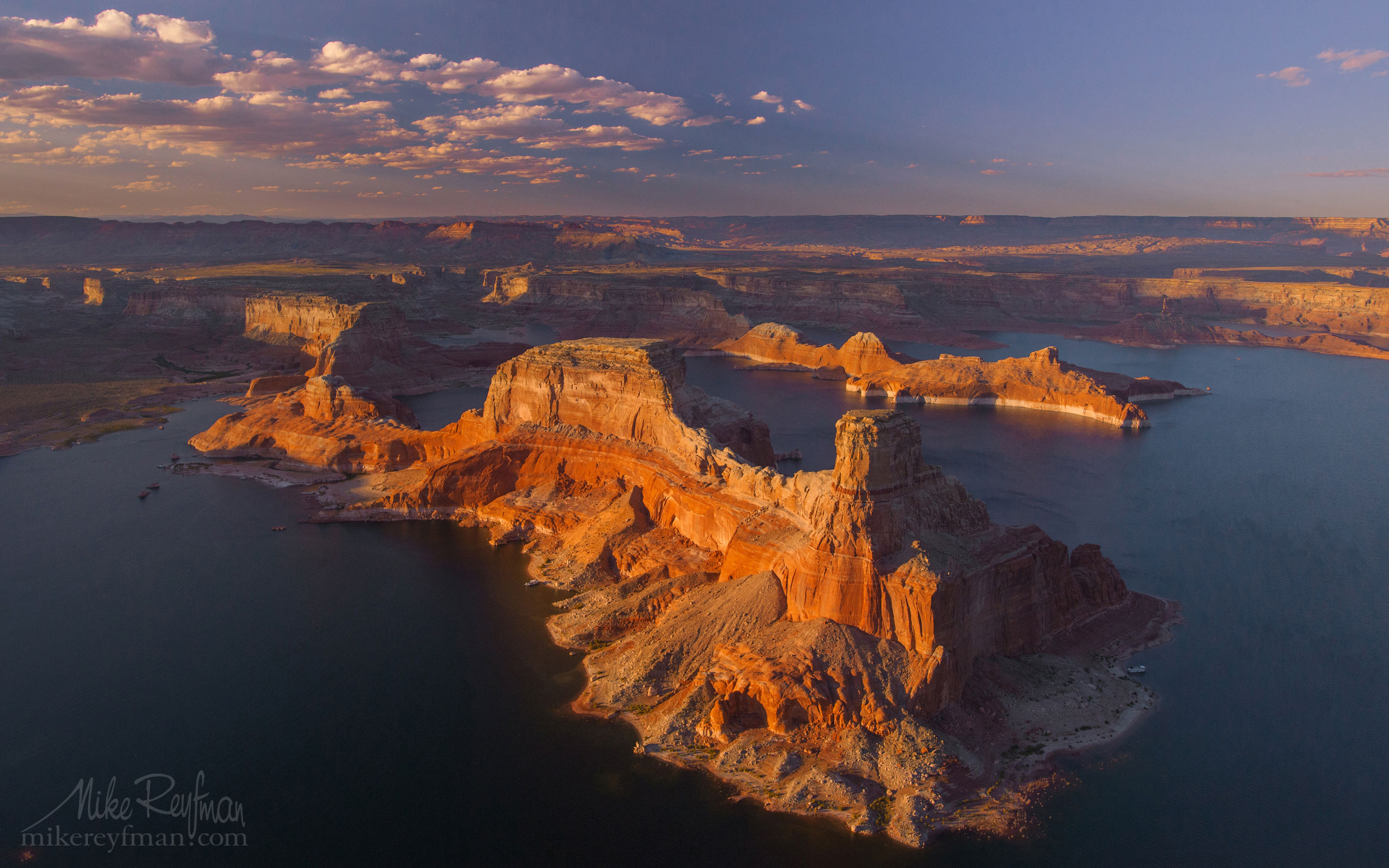 Gunsight Butte and North Side of Padre Bay. Glen Canyon NRA, Lake Powell, Utah/Arizona, USA. Aerial. 012-LP3_O3X4981.jpg - Lake Powell, Glen Canyon NAR. Colorado and Sun Juan Rivers. Utah/Arizona, USA  - Mike Reyfman Photography