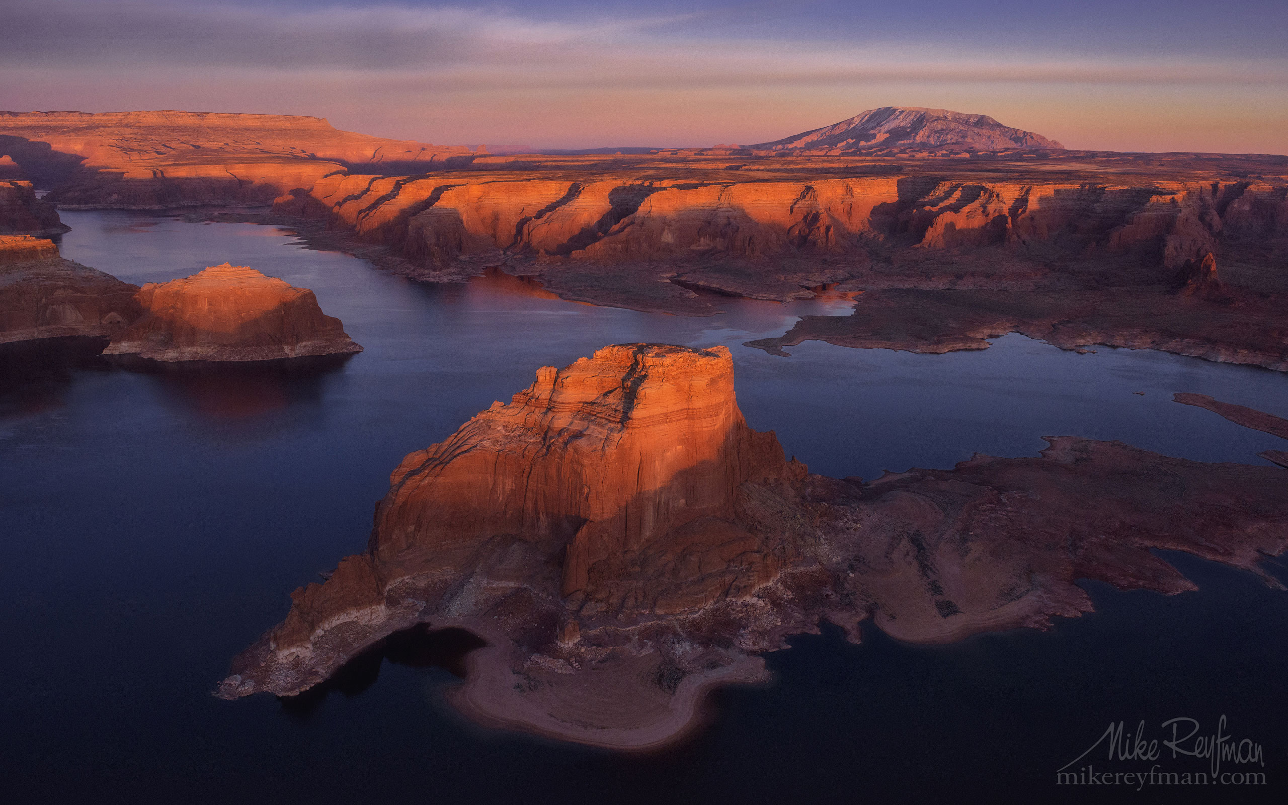 Gregory Butte. Lake Powell, Glen Canyon NRA, Utah/Arizona, USA. Aerial. 022-LP3_D1B9999_527.jpg - Lake Powell, Glen Canyon NAR. Colorado and Sun Juan Rivers. Utah/Arizona, USA  - Mike Reyfman Photography