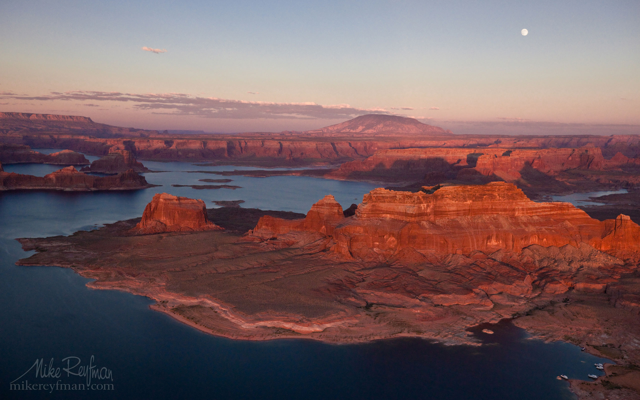 Dominguez and Boundary Buttes. South Side of Padre Bay. Lake Powell, Glen Canyon NRA, Utah/Arizona, USA. Aerial. 024-LP3_O3X5157.jpg - Lake Powell, Glen Canyon NAR. Colorado and Sun Juan Rivers. Utah/Arizona, USA  - Mike Reyfman Photography