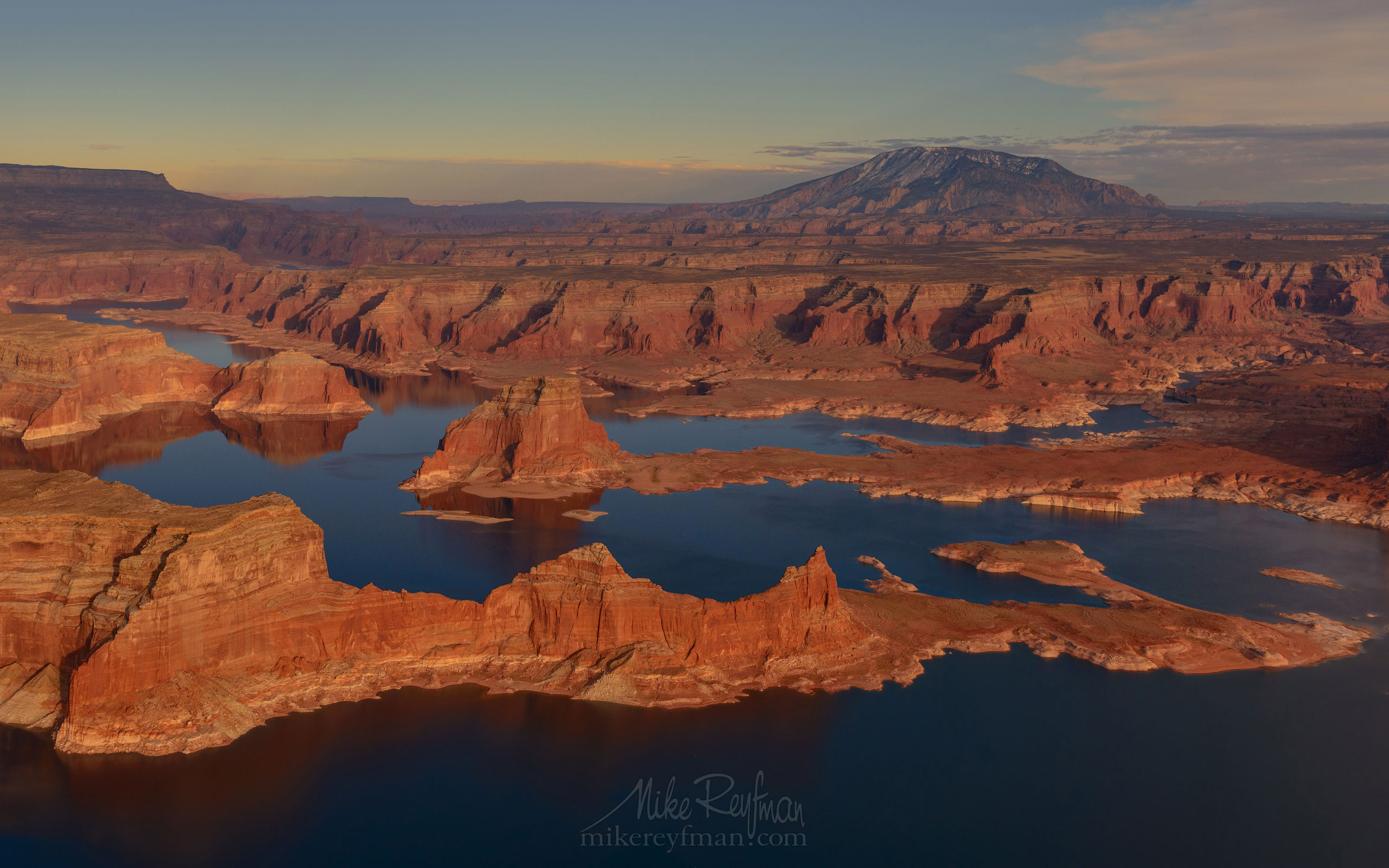 Lake Powell and Navajo Mountain. Glen Canyon NRA, Utah/Arizona, USA. Aerial. 026-LP3_D8C9411.jpg - Lake Powell, Glen Canyon NAR. Colorado and Sun Juan Rivers. Utah/Arizona, USA  - Mike Reyfman Photography