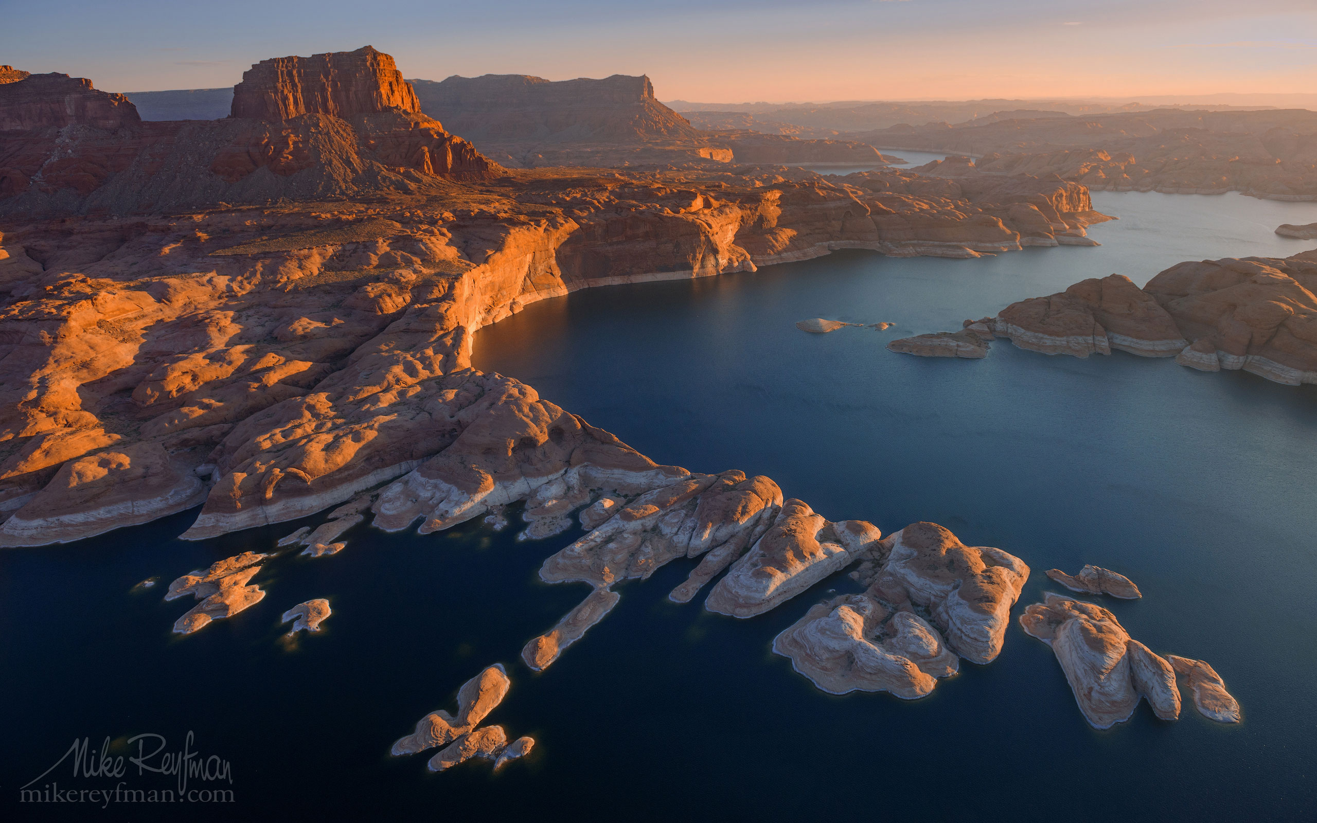 Colorado River Near Mouth of the Forbidding Canyon. Glen Canyon NRA, Lake Powell, Utah/Arizona, US. Aerial. 028-LP3_O3X5369.jpg - Lake Powell, Glen Canyon NAR. Colorado and Sun Juan Rivers. Utah/Arizona, USA  - Mike Reyfman Photography