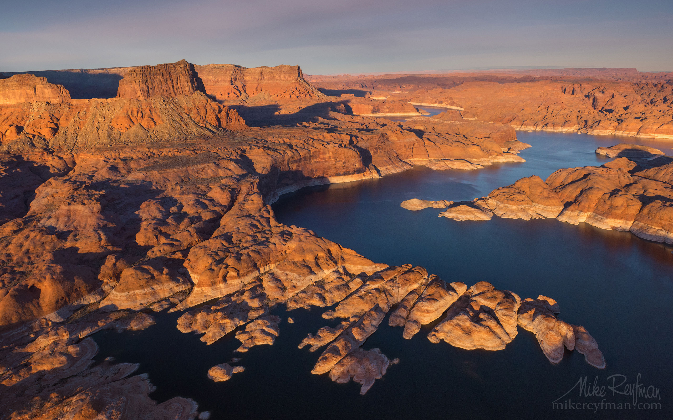 Colorado River Near Mouth of the Forbidding Canyon. Glen Canyon NRA, Lake Powell, Utah/Arizona, US. Aerial. 029-LP3_D1B9999_277.jpg - Lake Powell, Glen Canyon NAR. Colorado and Sun Juan Rivers. Utah/Arizona, USA  - Mike Reyfman Photography