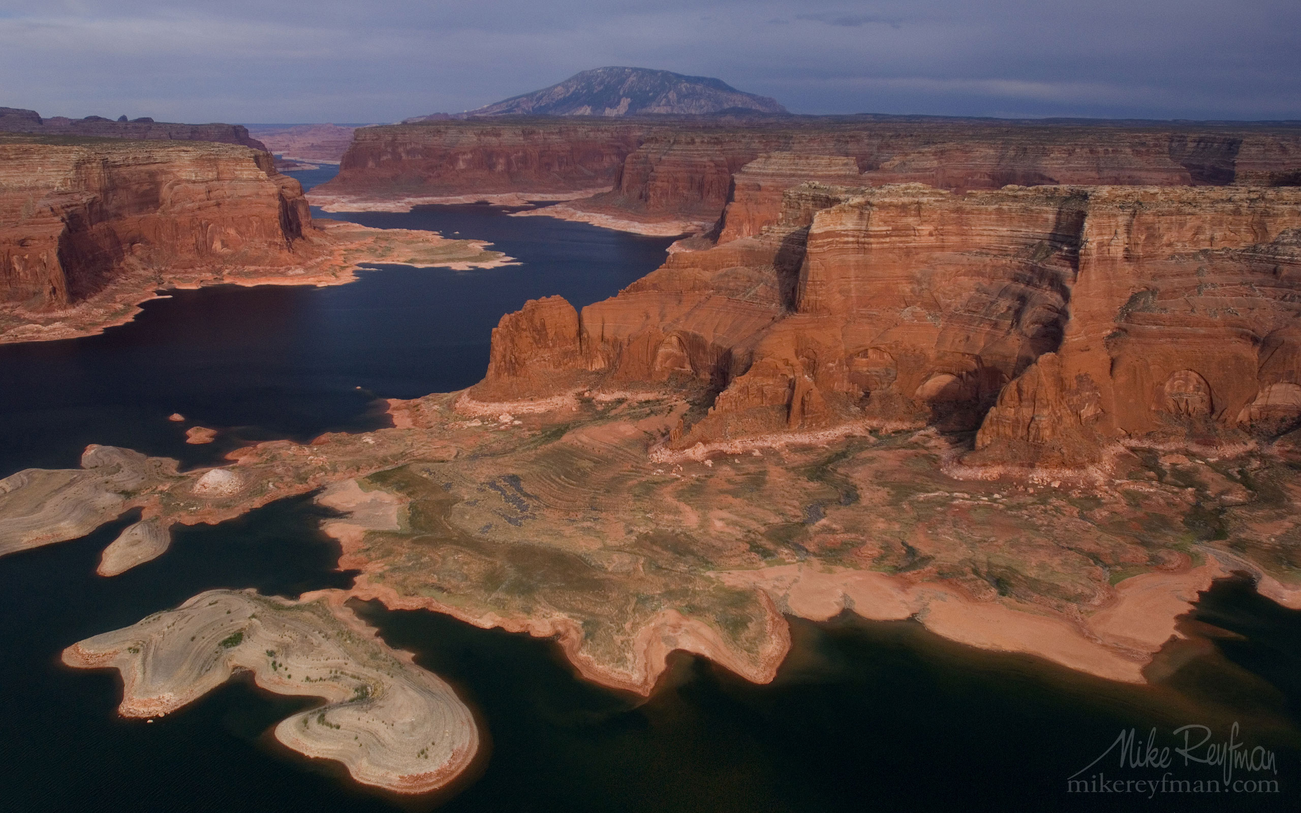 Rainbow Plateau and Distant View of Navajo Mountain. Glen Canyon NRA, Lake Powell, Utah/Arizona, USA. Aerial. 038-LP3_MER7038.jpg - Lake Powell, Glen Canyon NAR. Colorado and Sun Juan Rivers. Utah/Arizona, USA  - Mike Reyfman Photography