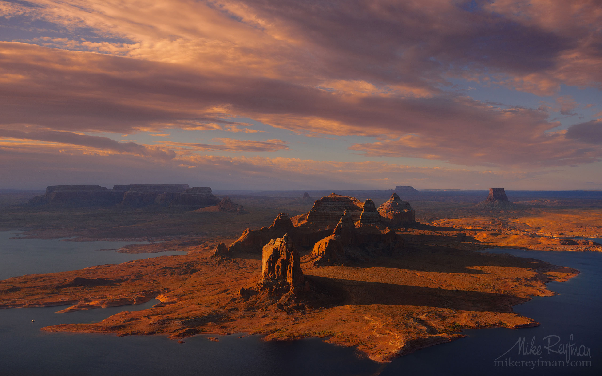 Dominguez and Boundary Buttes with Tower Butte in the distance. South Side of Padre Bay. Lake Powell, Glen Canyon NRA, Utah/Arizona, USA. Aerial. 059-LP3_O3X5565.jpg - Lake Powell, Glen Canyon NAR. Colorado and Sun Juan Rivers. Utah/Arizona, USA  - Mike Reyfman Photography