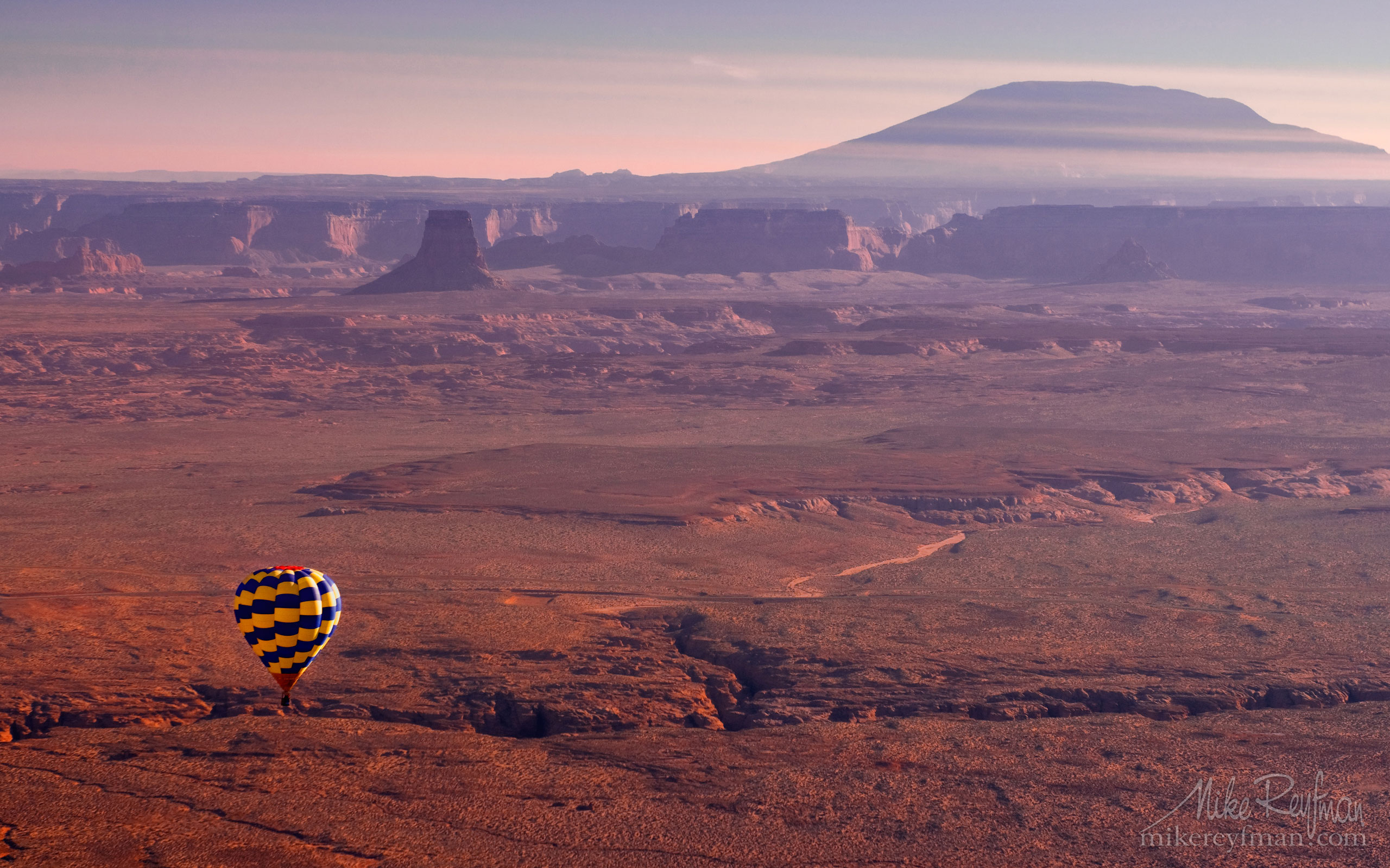 Balloon over desert with Navajo Mountain in the background. Glen Canyon NRA. Uta/Arizona, USA. 060-LP3_DSC0429.jpg - Lake Powell, Glen Canyon NAR. Colorado and Sun Juan Rivers. Utah/Arizona, USA  - Mike Reyfman Photography