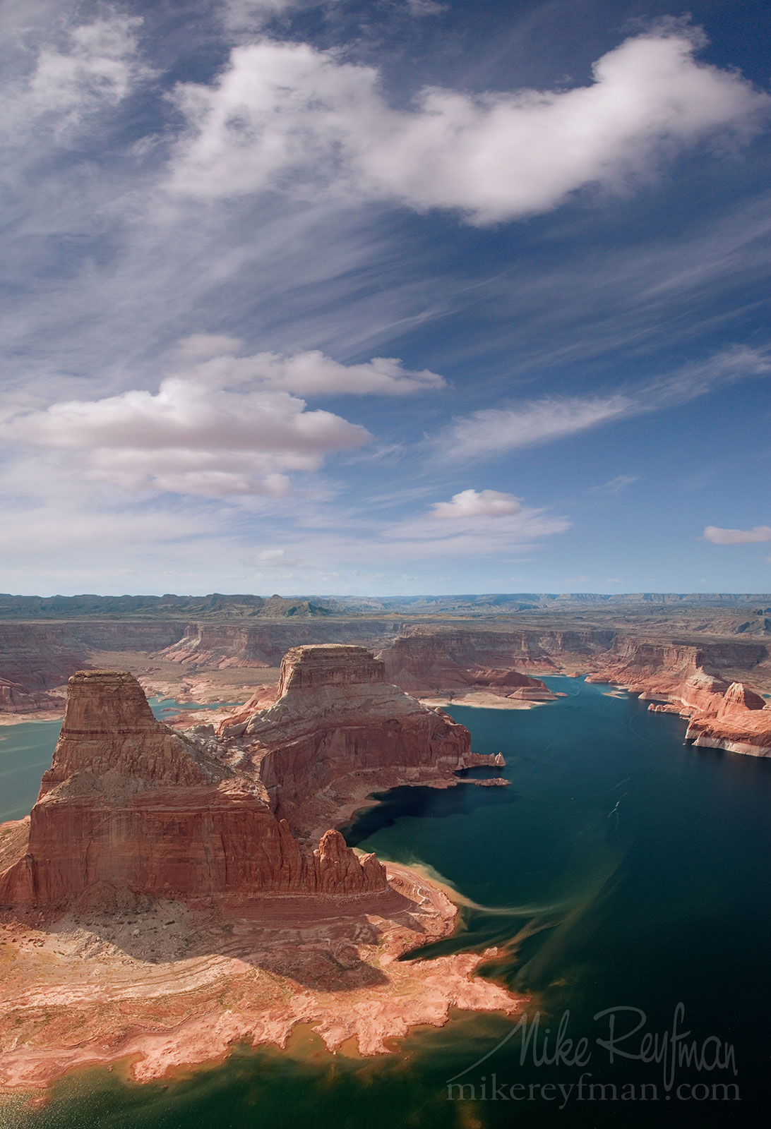 Gunsight Butte and North Side of Padre Bay. Glen Canyon NRA, Lake Powell, Utah/Arizona, USA. Aerial. 078-LP3_MER6703.jpg - Lake Powell, Glen Canyon NAR. Colorado and Sun Juan Rivers. Utah/Arizona, USA  - Mike Reyfman Photography