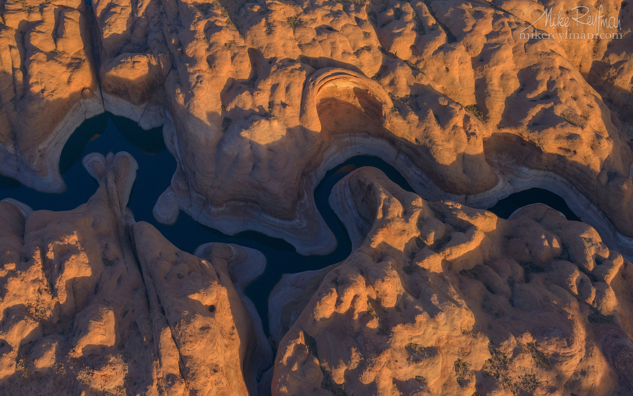 Anasazi Canyon Abstracts. Anasazi Canyon, Lake Powell, Glen Canyon NRA, Utah/Arizona, US. Aerial. 087-LP3_D8C9475.jpg - Lake Powell, Glen Canyon NAR. Colorado and Sun Juan Rivers. Utah/Arizona, USA  - Mike Reyfman Photography