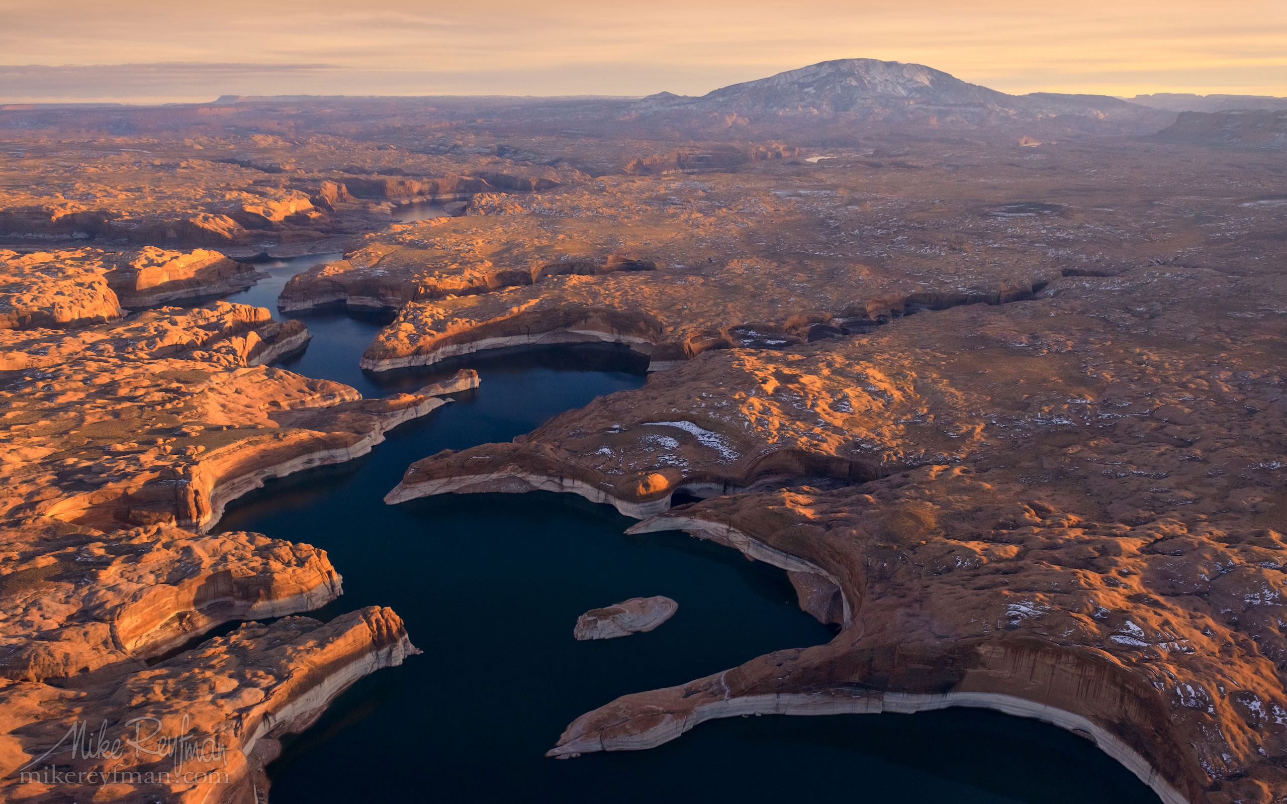 Escalante River Canyon and Navajo Mountain. Lake Powell, Glen Canyon NRA. Uta/Arizona, USA. Aerial. 113-LP3_D8C9600_Escalante-River-Canyon.jpg - Lake Powell, Glen Canyon NAR. Colorado and Sun Juan Rivers. Utah/Arizona, USA  - Mike Reyfman Photography