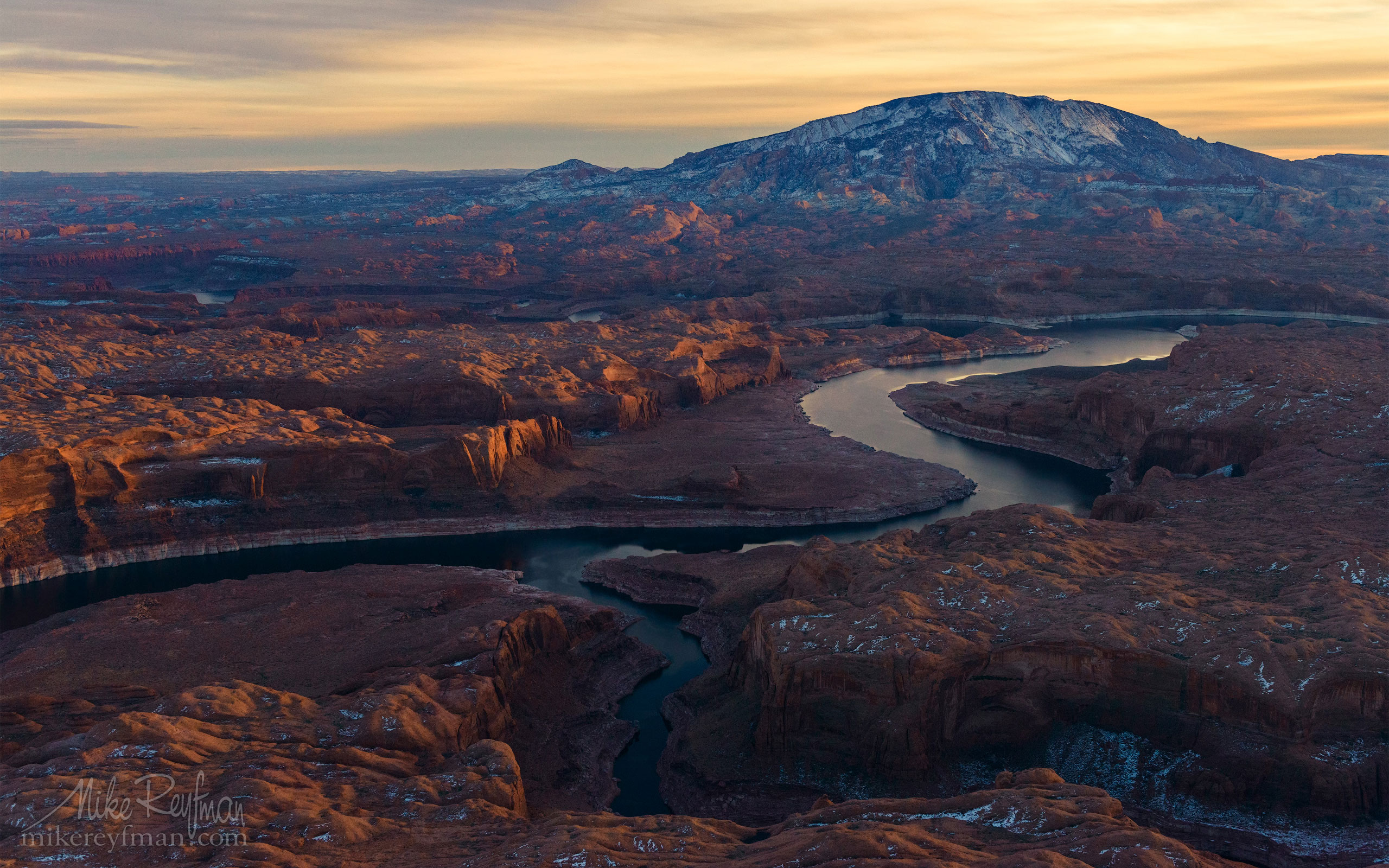 Colorado River and Navajo Mountain. Lake Powell, Glen Canyon NRA. Uta/Arizona, USA. Aerial 115-LP3_D8C9611.jpg - Lake Powell, Glen Canyon NAR. Colorado and Sun Juan Rivers. Utah/Arizona, USA  - Mike Reyfman Photography