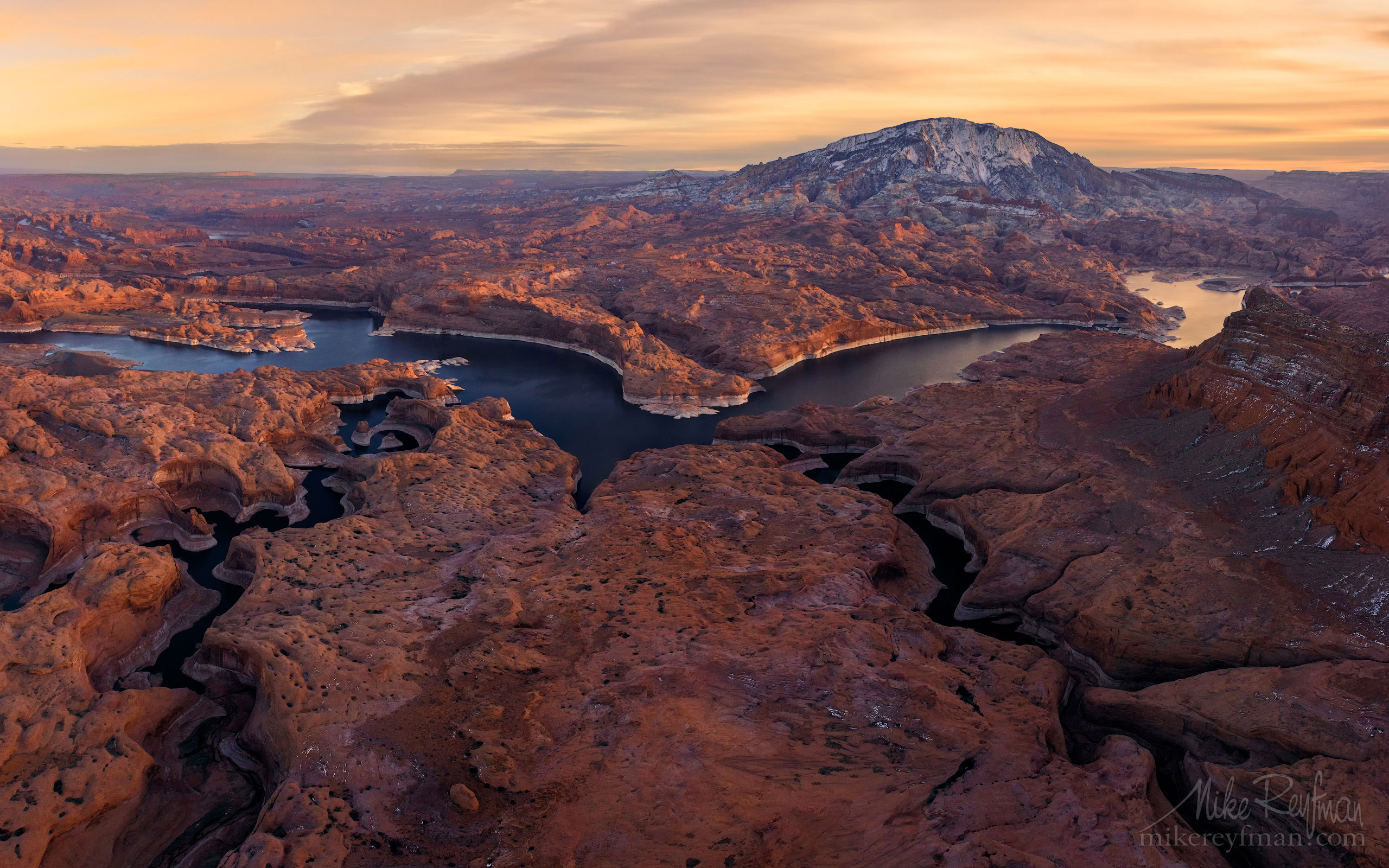 Reflection Canyon, Hidden passage Canyon, Colorado River and Navajo Mountain. Lake Powell, Glen Canyon NRA. Uta/Arizona, USA. Aerial 118-LP3_D8C9618-20-28-30.jpg - Lake Powell, Glen Canyon NAR. Colorado and Sun Juan Rivers. Utah/Arizona, USA  - Mike Reyfman Photography