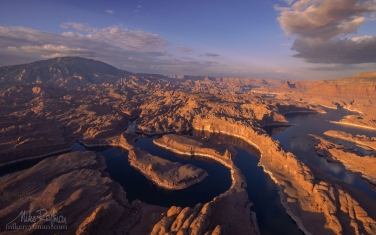 Confluence-of-San-Juan-&-Colorado-Rivers.-Glen-Canyon-NRA,-Lake-Powell,-Utah/Arizona,-USA.-Aerial.
