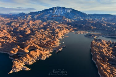Navaho-Mountain,-Anasazi-Canyon-and-Colorado-River.-Glen-Canyon-NRA,-Lake-Powell,-Utah/Arizona,-US.-Aerial.