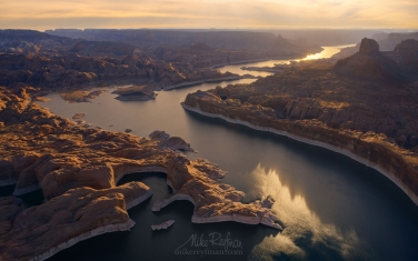 Mouth-of-the-Anasazi-Canyon-and-Colorado-River.-Glen-Canyon-NRA,-Lake-Powell,-Utah/Arizona,-US.-Aerial.