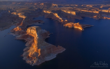 Gunsight-Butte-and-North-Side-of-Padre-Bay.-Glen-Canyon-NRA,-Lake-Powell,-Utah/Arizona,-USA.-Aerial.