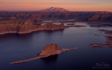 Padre-Butte.-Lake-Powell,-Glen-Canyon-NRA,-Utah/Arizona,-USA.-Aerial.