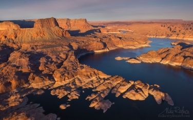 Colorado-River-Near-Mouth-of-the-Forbidding-Canyon.-Glen-Canyon-NRA,-Lake-Powell,-Utah/Arizona,-US.-Aerial.