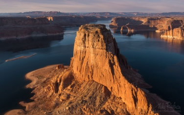 Gregory-Butte.-Lake-Powell,-Glen-Canyon-NRA,-Utah/Arizona,-USA.-Aerial.