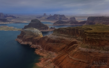 Camel-Rock-and-Gregory-Butte,-Dominguez,-Boundary-and-Tower-Buttes,-Lake-Powell,-Utah/Arizona,-USA.-Aerial.